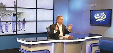 Reza Safa at TBN Nejat TV studio.